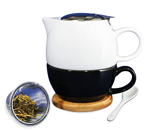 Janazala Tea for One Infuser Teapot Set With Ceramic Tea Cup, Loose Tea Infuser Brewing System, Anniversary Gift For Wife or Husband, Birthday Present for Mom or Dad, Porcelain, White/Black