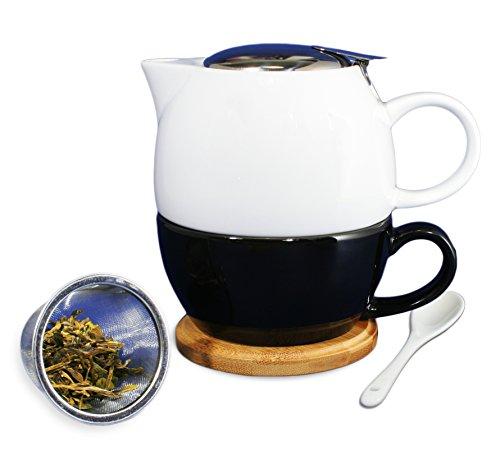 Janazala Tea for One With Ceramic Tea Cup and Teapot Infuser For Loose Tea, Anniversary Gift, Single Tea Set, Birthday Present for Mom or Dad, Tea Mug infuser, Porcelain, White/Black