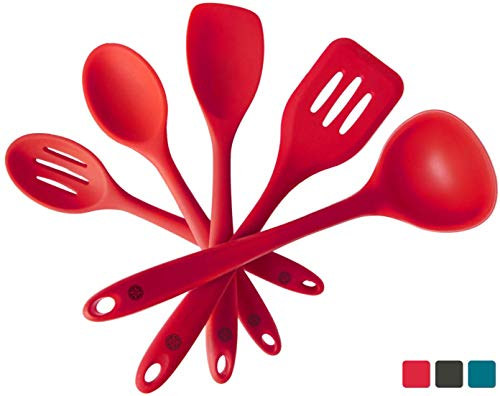 StarPack Basics Silicone Kitchen Utensil Set (5 Piece Set, 10.5″) – High Heat Resistant to 480°F, Hygienic One Piece DesignSpatulas, Serving and Mixing Spoons (Cherry Red)