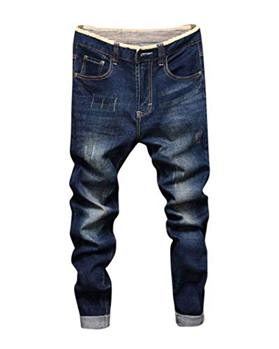 Slim Holes Da Old Simple Men Pantaloni Dunkelblau Denim Men's Basic Fit Lavoro Pants Nne Uomo Jeans Cher gq8UAC