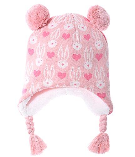 ERISO Little Girl Baby Winter Soft Fleece Hat Earflap Pink Owl (XS / 6-12 Months, Pink Bunny) - Infant Fleece Hats