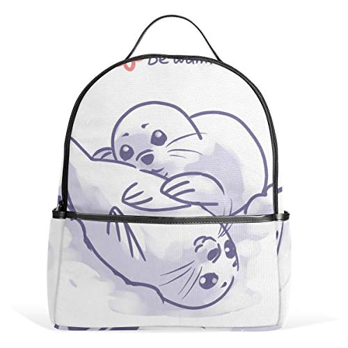 Mr.XZY Cute Cartoon Animal Painting Seal College Bookbag Notebook Computer Backpack Bags Simple Style Childish For Kids Casual Bags for College School Students Boys Girls 2010311
