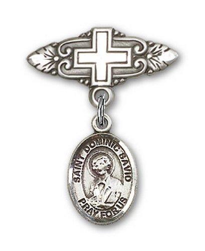 Icecarats Créatrice De Bijoux En Argent Sterling St. Broche De Badge Charme Savio Dominic Avec Croix 1 X 3/4