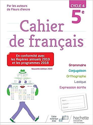Cahier De Francais Cycle 4 5e Ed 2019 Amazon Fr