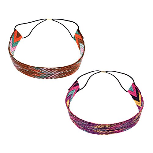 Kloud City Pack of 2 Women Boho Style Weave Arrow Headband Hippie Elastic Hairband Hair Accessories