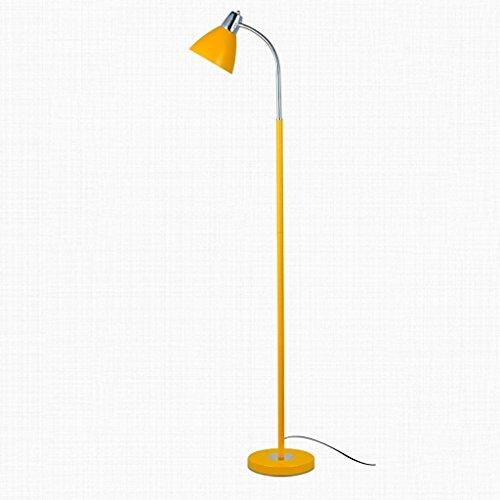 MOMO Stehleuchte Stehleuchte Eisen kreative Wohnzimmer Studie Lampe Lesen vertikale Stil Stehlampe,Gelb (Schwarze Und Gelbe Gläser)