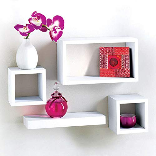 G-0006 Lima 4 Floating Wall Mounted Space Saving Cube Storage Display Shelf/Shelves - Black Home