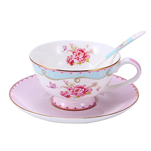 LeFeng Fine Bone China Coffee Mug Spoon and Saucer Set, Easy Clean and Great Design in Wonderful Moment, Vintage Rose, Pink Color and 8-Ounce (pink)