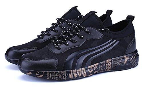 CSDM Uomo Retro Spray Point Sport Tempo libero Studenti Outdoor Running Scarpe Casual , black gold , 42