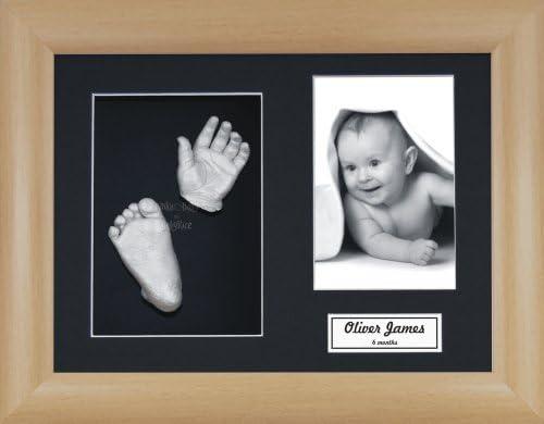 11.5x8.5 Beech Effect Frame//Black 3 Hole Mount//Black Backing//Silver Paint BabyRice Baby Casting Kit