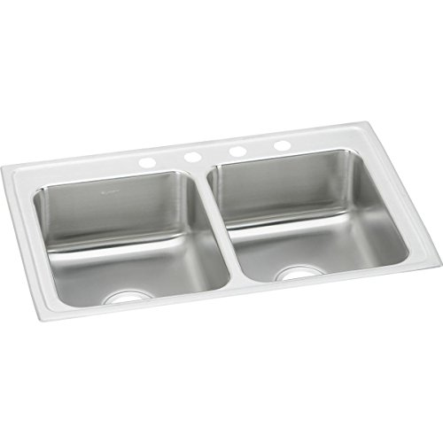 Elkay LR29223 Lustertone Stainless Steel Equal Double Bowl Top Mount Sink