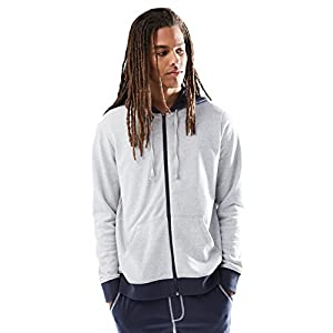 Rebel Canyon Young Men's Zip-Up Hoodie Sweatshirt With Contrast Trim Medium Light Grey Heather