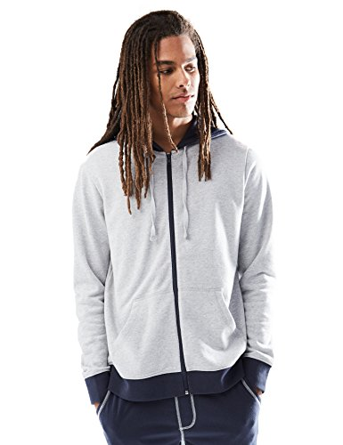 Light Grey Heather (Rebel Canyon Young Men's Zip-Up Hoodie Sweatshirt With Contrast Trim Medium Light Grey Heather)
