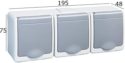3 Prises iP44 16 a//250 v aufputzsteckdose depot8 prise de courant schuko