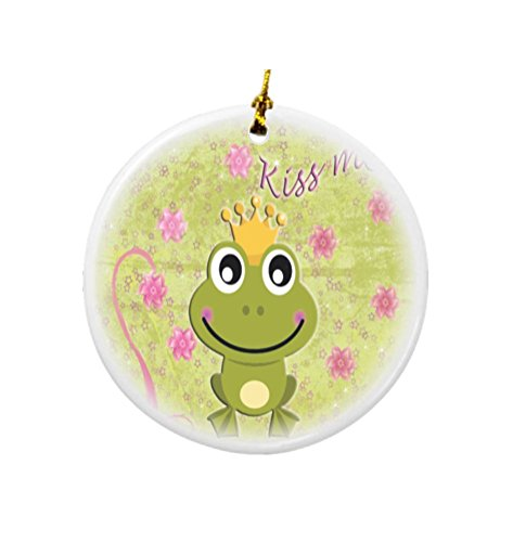 Rikki Knight Kiss Me Frog Design Round Porcelain Two-Sided Christmas ()