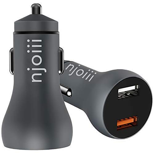 Car Charger Njoiii, Dual Port USB, 30W/5.4Amp Output, with Qualcomm Quick Charge 3.0, Fast, Smart, Portable, Interior Metal Accessory Adapter for Vehicle, Mobile Phone, Apple, Android Devices - Accessory Razr
