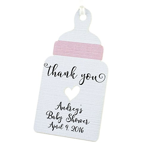 Summer-Ray 50pcs Personalized Pink Baby Bottle Baby Shower Favor Tags by Summer-Ray.com