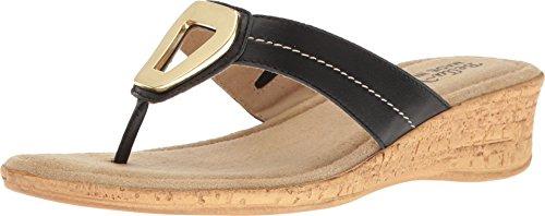 Bella Vita Women's Lou-Italy Thong Sandal,Black Leather,US 7.5 N