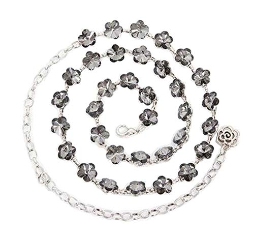[Flower Gray] Women Fashion Metal Skinny Belt Clasp Waist Belt Waist Chain