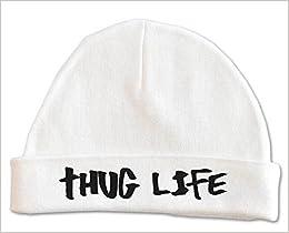 881dec33e31 Amazon.com  Lil Shirts Unisex Baby Thug Life Beanie (0-6