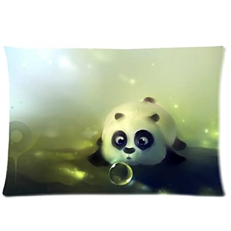 cute baby panda eat bamboo funny bear animal art zippered pillow