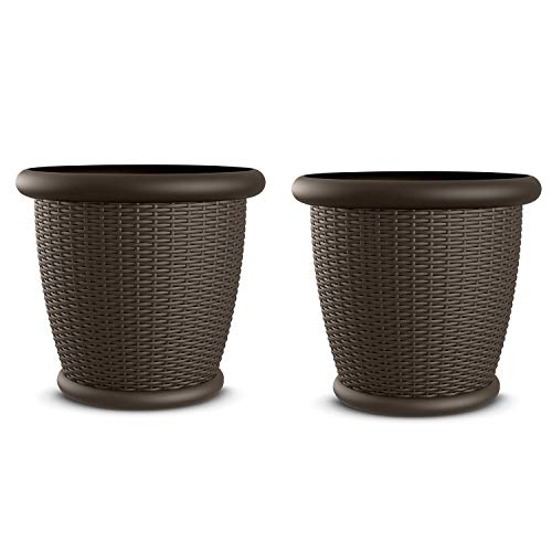 Suncast 2221WJ2 Willow Round Pot Planter (Set of 2) ()