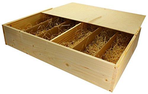 6er Wein-Holzkiste mit Schiebedeckel und Holzwollef/üllung