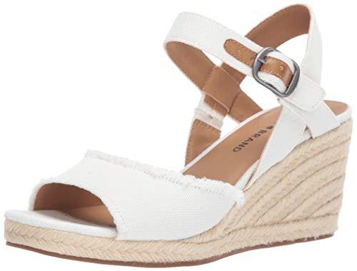(Lucky Brand Women's MINDRA Espadrille Wedge Sandal, White, 5 M US)