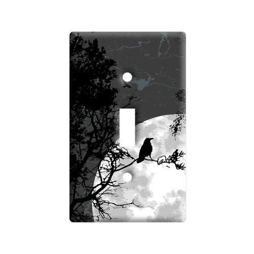 Raven at Night - Black Bird Full Moon - Plastic Wall Decor Toggle Light Switch Plate (Moon Toggle)