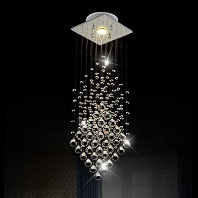 Surpars House® Flush Mount 1-Light Crystal Rain Drop Chandelier 1X3W GU10 LED Bulb Included