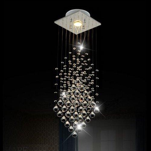 Surpars House® Flush Mount 1-Light Crystal Rain Drop Chandelier 1X3W GU10 LED Bulb (1 Light Crystal Chandelier)
