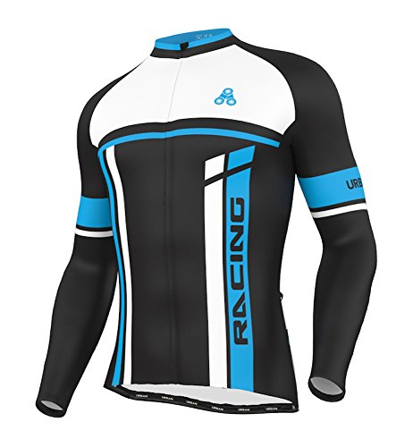 (Men's Urban Cycling Team Thermal Winter Jersey, Bib Tights, and Winter Cycling Set Kit, Long Sleeve (XX-Large, Thermal Jersey Only) )