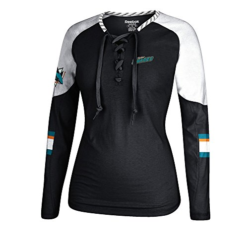 Long Skates Sleeve Hockey (adidas San Jose Sharks Reebok Hockey Top Henley Skate Lace Long Sleeve Shirt Women's)