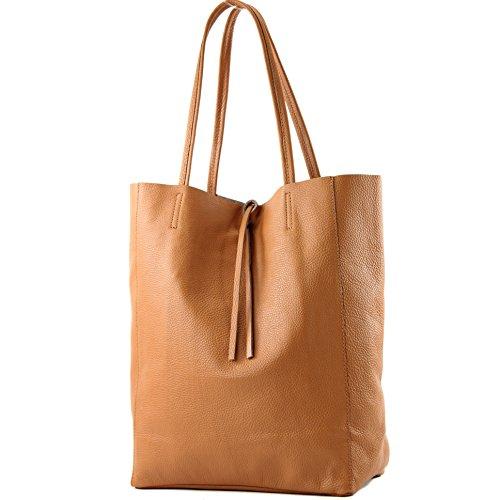 modamoda de - Ital. Les consommateurs cuir sac à bandoulière T163, Präzise Farbe (nur Farbe):Cognac
