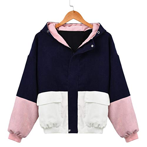 OCASHI Women Hoodie Jacket, Teen Girls Vintage Three-Color Patchwork Long Sleeve Zip Button up Pockets Jacket Outwear Coat with Hood Windbreaker (XXXL, Navy) by OCASHI