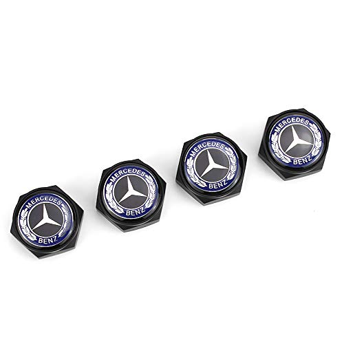 HYFML 4 pcs Separate Zinc Alloy Decoration License Plate Frame Screw Bolt Apply Mercedes-Benz(Blackbody Blue Label)