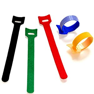 BALABALA 50pcs 6 Inch Multi-Purpose Reusable Hook and Loop Cable Ties Fastening Straps Tie downs – 5 Color