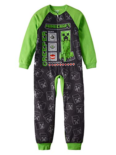 Minecraft Pajamas for Boys Creeper Stats and Mats Blanket Sleeper (Medium (8))]()
