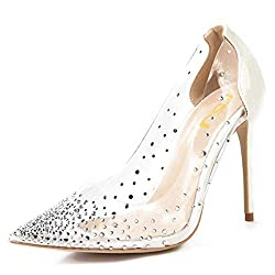 Ivory Studded Pointed Toe Transparen Heels with Bowknot