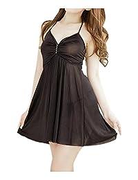 SODIAL(R) Ladies Babydoll Dress Lingerie Night Sleepwear with G-string Sexy Black