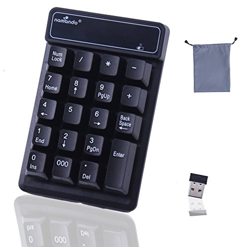 YXFLY 2.4GHz Mini USB Wireless Numeric Keypad - 19 Keys Mechanical Feel Number Pad Water-proof Keyboards for Laptop Desktop PC Notebook Black by YxflY