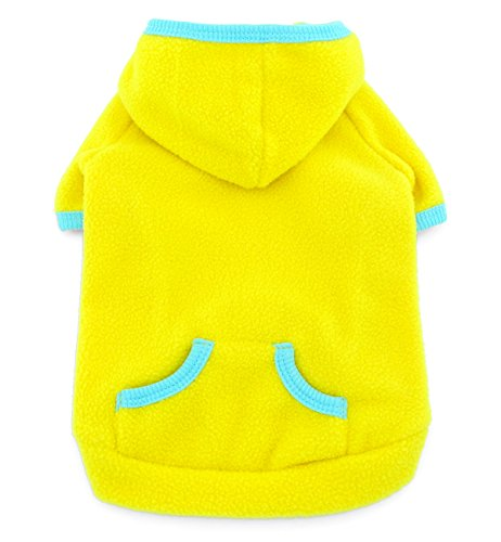 SMALLLEE_LUCKY_STORE Pet Clothes for Small Dog Cat Blank Fleece Coat Hoodie Jumper Sport Style Yellow XS