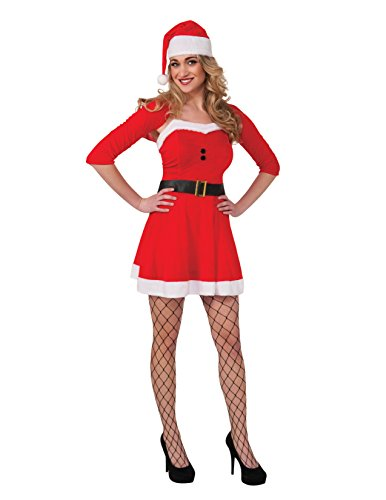 Costumes Santa Con (Rubie's Women's Clausplay Sassy Santa Dress, Red, One)