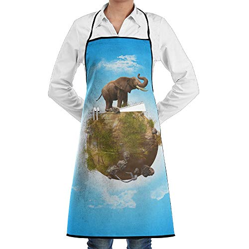 LOGENLIKE Elephant On The Earth Kitchen Aprons, Adjustable Classic Barbecue Apron Baker Restaurant Black Bib Apron With Pockets For Men And Women