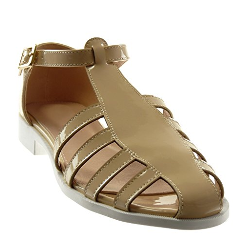 Beige 2 Sandals Ankle Block Angkorly Women's Heel cm Fashion Strap Gladiator Patent Shoes Buckle Golden wA74qB76F