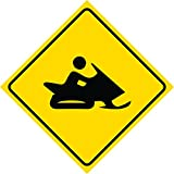 2 Pack - Aluminum Yellow Diamond Caution Snowmobile Crossing Signs Commercial Metal Square Sign, 12x12