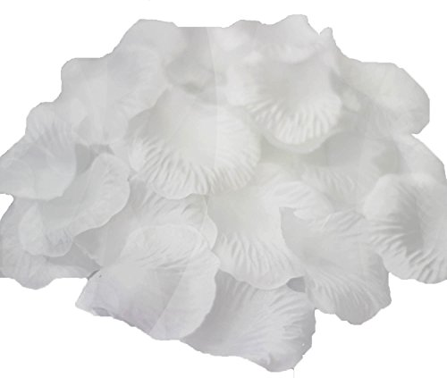 JUYO VONSAN 1000pcs Artificial Rose Petals Wedding Flowers Ffavors Special Wedding White