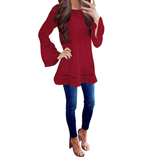 Chiffon Blouses for Women Shusuen Fashion Lace Cutout Bell Sleeve Sexy Top Shirts Elegant Pullover Red -
