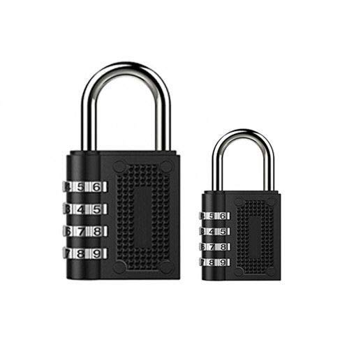 2 Pack Combination Lock 4 Digit Padlock for School, Gym & Sports Locker,Luggage Suitcase Baggage Locks,Filing Cabinets,Fence,Toolbox,Case(Black),Set Your Own Combination