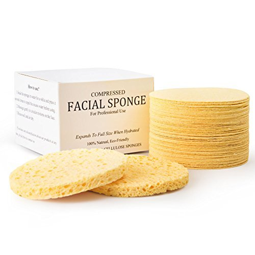 Facial Sponges, MAXSOFT Compressed 100% Natural Cellulose Facial Cleansing Sponges-50 Count by MAXSOFT